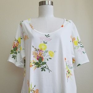 LLR 3XL Perfect T Floral Print on White